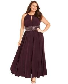 R Richards Plus Size Dress, Sleeveless Beaded Evening Gown - Plus Size Dress by R Richards was designed to flatter with keyhole-style cutouts at the front and back, a beaded waist and a flirty slit at the front hem. Great for wedding guest, prom, or formal