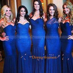 Buy 2015 Charming A-line Sweetheart Floor Length Chiffon Blue Bridesmaid Dresses / Wedding Party dresses CHPD-90096 Wedding Party Dresses