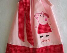 Peppa Pig Pillowcase style dress aqua by LittlehootboutiqueCo