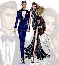 Hayden Williams Fashion Illustrations: 'Evening Attire' by Hayden Williams