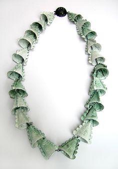 Art Jewelry, Vera Siemund, Artist, 2004, necklace, enamelled copper, silver, 30.5 cm.