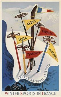 vintage ski poster - VECOUX   - WINTER SPORTS IN FRANCE   -1947