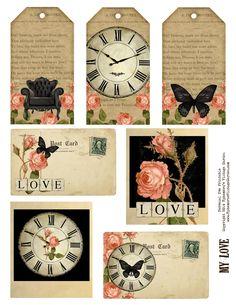 Ephemera's Vintage Garden: Free Weekly Printable - Vintage Love Ephemera and Tags