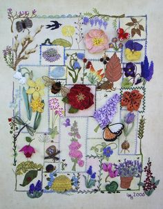 Country Garden sampler ~ stitched by LindaB, designed by Jenny Bennett; embroidery, ribbon, beads  #textile