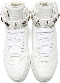 Givenchy: White Leather Star Tyson High-Top Sneakers