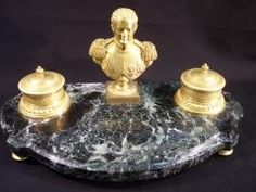 19th cent. bronze dore and green marble inkwell with  bust of Napolean,France.