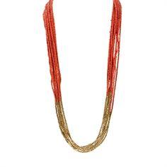 Natasha Multi-Strand Seed Bead Necklace   from Von Maur #VonMaur #StyleCorner #Orange #Gold