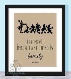 Mickey and Gang Walt Disney Quote Typographic Print - 11x14 - Most Important Thing is Family - Custom Quote/Colors/Characters