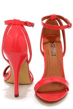 c900334f5033 Lola 1 Coral Patent Ankle Strap Heels