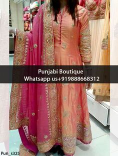 Stunning Coral And Magenta Embroidered Anarkali Suit Product Code: To order this dress , please call or WhatsApp us at We can design this Anarkali Suit in any color combination or on any fabric (price may vary according to fabric) White Anarkali, Anarkali Suits, Punjabi Suits, Pakistani Dresses, Indian Dresses, Lehenga Choli, Saree, Punjabi Boutique, Sari