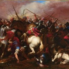 Jacques Courtois  (Saint- Hippolyte  Rome) Battle scenes with cavalry between Turks and Christians, a town beyond,