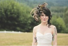 I love her crazy fascinator :)   A Rustic Chic Wedding: Bree + Barham