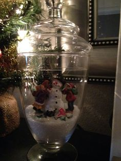 My favorite Christmas decoration this year! Use Epsom salt for the snow.