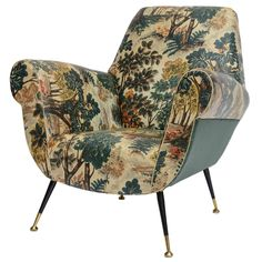 50's Italian Armchair with Original Upholstery (2 Available)   From a unique collection of antique and modern armchairs at http://www.1stdibs.com/furniture/seating/armchairs/