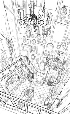 Morticia Addams & # Kitchen by Sixtine Dano. - Healthy skin care - Morticia Addams & # Kitchen by Sixtine Dano. Drawing Sketches, Art Drawings, Drawing Art, Sketching, Illustration Inspiration, Illustration Manga, Perspective Art, Perspective Drawing Lessons, Animation Background