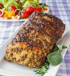 Herb Crusted Roast Loin of Pork- Herb Crusted Pork Loin Roast. A simple but very flavourful preparation for an easy, succulent, perfectly roasted loin of pork. Makes an ideal comfort food, Sunday dinner. Boneless Pork Loin Recipes, Pork Roast Recipes, Pork Tenderloin Recipes, Meat Recipes, Cooking Recipes, Pork Sirloin Roast, Rabbit Recipes, Game Recipes, Beef Tenderloin