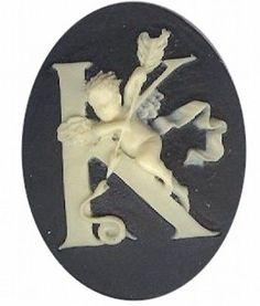 "Item#147x Acrylic 40x30 black/ivory letter ""K"" cameo"