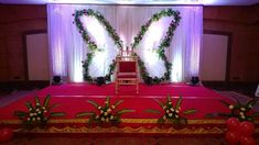 Decors - Wedding Stage Decorators In South India, We… Indian Wedding Stage, Wedding Stage Design, India Wedding, Ethnic Wedding, Simple Stage Decorations, Wedding Stage Decorations, Backdrop Decorations, Backdrops, Naming Ceremony Decoration