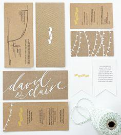 White on brown cardboard wedding invites