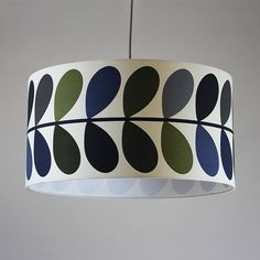 Handmade 60m Pendant drum shade - Orla Kiely, 'Multi stem Olive', white lining. Follow for more lampshades, ceiling shades, bespoke products and exclusive designs.