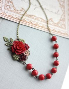 Wedding Collage Floral Necklace Maroon Red Rose by Marolsha
