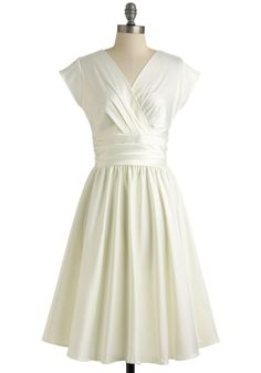 Love You Ivory Day Dress - White, Solid, Pleats, Wedding, Cap Sleeves, Fit & Flare, Vintage Inspired, A-line, V Neck, Spring, Bride, Sheer, Woven, Long, Special Occasion, Top Rated, Full-Size Run, Graduation