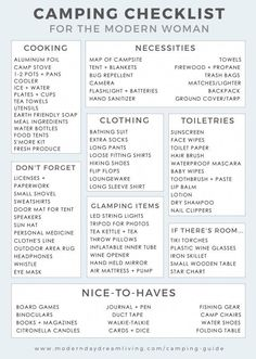 Kayak Tips Packing Lists A modern guide to camping printable packing list. - A modern camping checklist of items you don't want to forget for any memorable glamping trip. Todo Camping, Camping Info, Camping Diy, Camping Guide, Camping Glamping, Camping Stove, Camping And Hiking, Camping With Kids, Family Camping