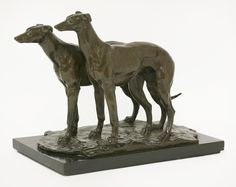 Sir William Reid Dick ARA (1879-1961), two greyhounds, a large bronze group, signed and dated 1927, good dark brown patina on an ebonised wooden base, 35cm wide Sold for £5000 on 14th March 2017