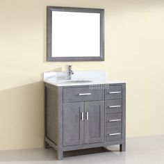 Rustic Traditional Bathroom Vanity Kalize 36 French Gray finish, Hand-stained, Distressed French Gray finish, Solid hardwood construction, Soft-closing doors. The Kalize 30 is maximum storage defined, streamlining and un-cluttering your bathroom experience. The timeless shaker doors give a semblance of transitionalism while multiple handles form a fell visage of muscular intensity.