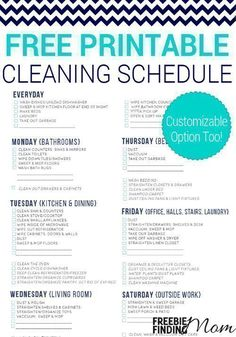 This free printable cleaning schedule lists all the essential household cleaning chores and breaks them up over a course of 6 days, making it more manageable to work them into your busy schedule.  You can also download a free customizable version, so you Cleaning Dust, Daily Cleaning, Deep Cleaning Tips, Toilet Cleaning, House Cleaning Tips, Spring Cleaning, Cleaning Hacks, Cleaning Routines, Speed Cleaning