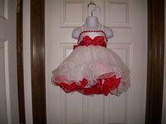 Red and White Glitz Babydoll Dress