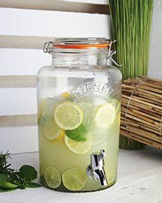 """Getränkespender """"Original 5 L """" Glas, Vintage Wasserspender Saftspender Zapfhahn Deckel , Einmachglas Optik mit Metall Clip"""