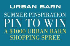 Love to see a Canadian retailer doing soical media well.  Great campaign from Urban Barn -- right on target. Pin to win a $1000 shopping spree from Urban Barn.