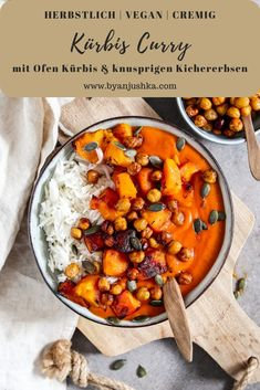 Pumpkin curry with roasted pumpkin and crispy chickpeas served with rice. Sharing one of my most popular recipes. The pumpkin curry is quick and easy. Pumpkin Curry, Vegan Pumpkin, Pumpkin Recipes, Veggie Recipes, Indian Food Recipes, Vegetarian Recipes, Healthy Recipes, Easy Recipes, Easy Cooking