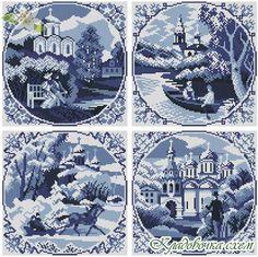 Времена года - Схемы в XSD - Кладовочка схем - вышивка крестиком Cross Stitch House, Flower Quilts, Blue Cross, Stitch 2, Needlepoint, Cross Stitch Patterns, Free Pattern, Diy And Crafts, Monochrome