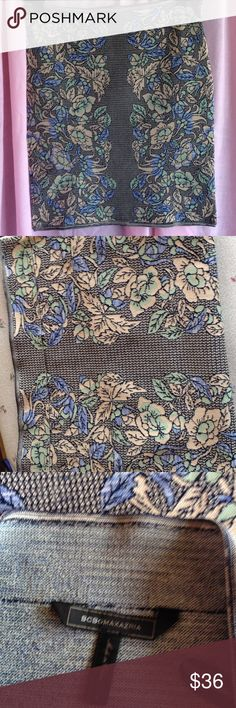"BCBG MazAzria Power Skirt Beautiful floral printed power skirt by BCBG. The name of the skirt is Pavel. Length is 18"" Sz L    Excellent condition. Material is Rayon Spandex & Nylon. Gentle Wash. BCBGMaxAzria Skirts Mini"