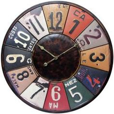Uttermost Vintage License Plates Clock | Wayfair