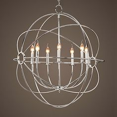 Globe Chandelier Polished Nickel Large | Cowshed Interiors