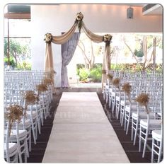 Indoor wedding ceremony at Dockside, L'Aqua - Terrace Room. Ceremony set up consisted of white carpet runner, white tiffany chairs with pew ends of gold painted baby's breath and customised champagne swag canopy. Indoor Wedding Ceremonies, Wedding Ceremony, Ceremony Decorations, Table Decorations, Plan My Wedding, Wedding Planning, Wedding Ideas, King Chair, Metal Folding Chairs