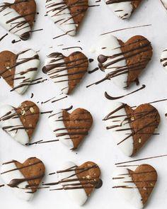 Schokoladenkekse: Honigkuchen-Herzen - German chocolate chip cookies: gingerbread-heart