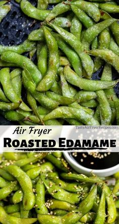 Another great snack idea, Air Fryer Roasted Edamame. This easy vegan air fryer recipe makes a wonderful healthy snack or appetizer. Fresh edamame roasted to perfection and served with a soy sesame dip. Air Fryer Oven Recipes, Air Frier Recipes, Air Fryer Dinner Recipes, Air Fryer Recipes Appetizers, Air Fryer Recipes Vegetarian, Easy Appetizer Recipes, Easy Snacks, Air Fried Food, Bon Appetit