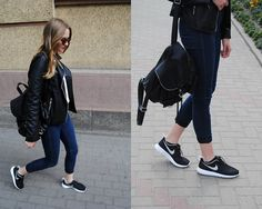 Stradivarius Leather Jacket, H&M Knitted Blouse, H&M Leather Backpack, Nike Roshe Run