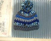 READY TO SHIP -- Baby boy hat Newborn grey blue Beanie 0-3 boys hats rts premade crochet boy pompom Photo Prop Baby 0-3 mos toddler child