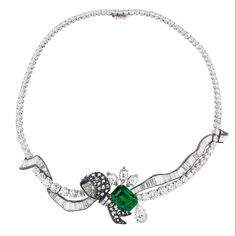 Find out more Dior à Versailles Salon de Diane high jewellery necklace in white gold, scorched silver, pink and yellow gold, diamonds and emerald