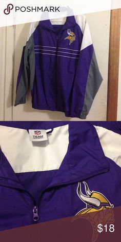 Minnesota Vikings Jacket This cool Vikings Jacket was only worn once. Size large. Nice light jacket. NFL Jackets & Coats Lightweight & Shirt Jackets