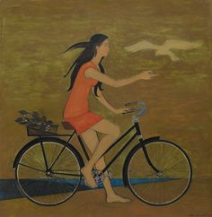 """terminusantequem:  """"Will Barnet (American, 1911-2012), GIRL ON A BICYCLE, 1971. Mixed media on board, 69.9 x 67.3 cm  """""""