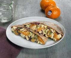 A healthy and tasty chicken salad with a fruity twist using the sweet and seedless gold nugget mandarin. Curry Chicken and Sunkist Gold Nugget Mandarin Cashew Salad in Whole Wheat Pita is as good looking as it is tasty! The curry flavor goes great with the fruit and the roasted cashews add a nice texture and flavor.