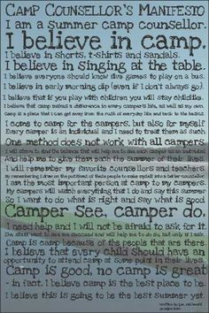 Kirk McKeon - a Camp Counselor's Manifesto. Camp Counselors are amazing people giving back, a beautiful ministry! Camping Diy, Camping Theme, Camping Crafts, Camping Hacks, Camping Ideas, Camping Holiday, Camping Trailers, Family Camping, Tent Camping