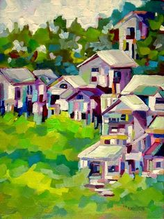 """Daily Paintworks - """"He Shed She Shed"""" - Original Fine Art for Sale - © Laurie Mueller Inspirational Artwork, Inspiring Art, Fine Art Auctions, Colorful Artwork, Naive Art, Fine Art Gallery, Illustration Art, Illustrations, Art Oil"""
