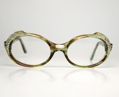 3a7683c4879 Oval GREEN Rhinestone Cat Eye Glasses Incrusted Green Brown Tortoise Optical  Frame France Vintage 1950s